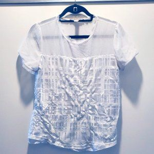 White Sheer Blouse with Rectangle Pattern, Small
